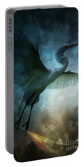 Night Flight Of The Great Egret Portable Battery Charger by Maria Urso