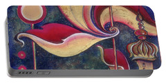 Portable Battery Charger featuring the painting Night In The City Of Gods by Anna Ewa Miarczynska