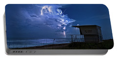 Night Lightning Under Full Moon Over Hobe Sound Beach, Florida Portable Battery Charger by Justin Kelefas