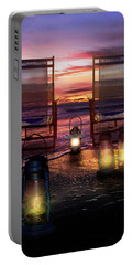 Portable Battery Charger featuring the photograph Night Lights At Sunset by Debra and Dave Vanderlaan