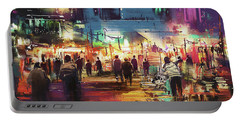 Portable Battery Charger featuring the painting Night Market by Tithi Luadthong