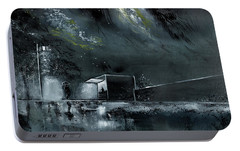 Portable Battery Charger featuring the painting Night Out by Anil Nene