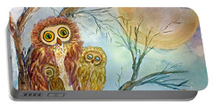 Night Owls Harvest Moon Portable Battery Charger by Ellen Levinson