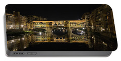 Night Reflections Of The Ponte Vecchio Portable Battery Charger