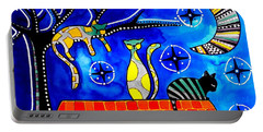 Night Shift - Cat Art By Dora Hathazi Mendes Portable Battery Charger