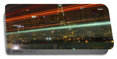 Night Shot Of Downtown Los Angeles Skyline From 6th St. Bridge Portable Battery Charger