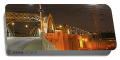 Night Shot Of The Los Angeles 6th Street Bridge And Supermoon #1 Portable Battery Charger