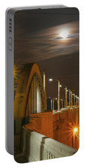 Night Shot Of The Los Angeles 6th Street Bridge And Supermoon #4 Portable Battery Charger