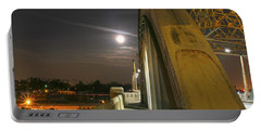 Night Shot Of The Los Angeles 6th Street Bridge And Supermoon #6 Portable Battery Charger
