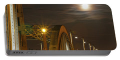 Night Shot Of The Los Angeles 6th Street Bridge And Supermoon #7 Portable Battery Charger