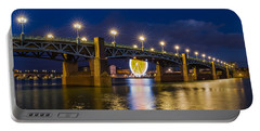 Night Shot Of The Pont Saint-pierre Portable Battery Charger by Semmick Photo