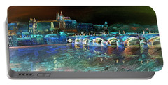 Portable Battery Charger featuring the mixed media Night Sky Over Prague by Elizabeth Lock