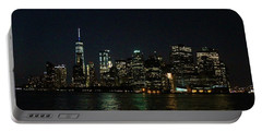 Night Skyline Of Lower Manhattan Portable Battery Charger