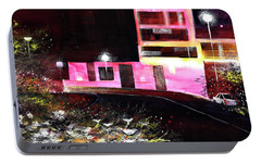Portable Battery Charger featuring the painting Night Walk by Anil Nene