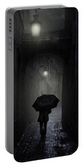 Night Walk In The Rain Portable Battery Charger