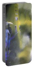 Night Walk In The Rain Portable Battery Charger by Raymond Doward