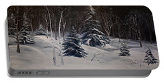 Night Time Snowy Woods Portable Battery Charger by Joy Nichols