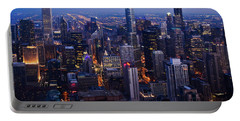 Nighttime Chicago Skyline Portable Battery Charger