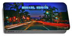 Nighttime Neon In Normal Heights, San Diego, California Portable Battery Charger