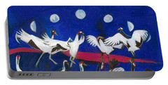 Portable Battery Charger featuring the painting Nine Dancing Cranes by Denise Weaver Ross