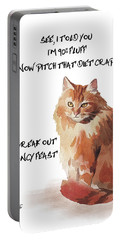 Portable Battery Charger featuring the painting No Fat Cat by Colleen Taylor