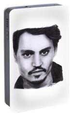 Johnny Depp Drawing By Sofia Furniel Portable Battery Charger by Sofia Furniel