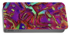 Portable Battery Charger featuring the mixed media No Sense Of Humor 17 by Lynda Lehmann