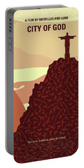 No716 My City Of God Minimal Movie Poster Portable Battery Charger