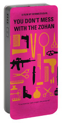 Portable Battery Charger featuring the digital art No743 My You Dont Mess With The Zohan Minimal Movie Poster by Chungkong Art