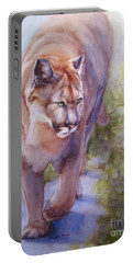 Portable Battery Charger featuring the painting Noble Cougar by Bonnie Rinier