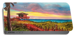 Nokomis Florida Beach At Sunset Portable Battery Charger by Lloyd Dobson
