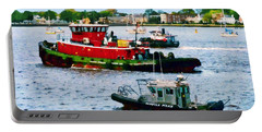 Norfolk Va - Police Boat And Two Tugboats Portable Battery Charger