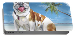 Portable Battery Charger featuring the painting Norma Jean The Key West Puppy by Phyllis Beiser