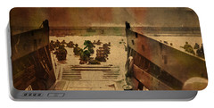 Normandy Beach On Dday World War Two Watercolor Tinted Historical Photograph On Worn Canvas Portable Battery Charger