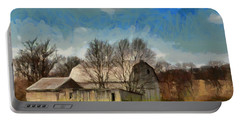 Portable Battery Charger featuring the mixed media Norman's Homestead by Trish Tritz