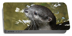 North American River Otter Swimming In A River Portable Battery Charger
