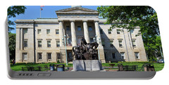 North Carolina State Capitol Building With Statue Portable Battery Charger