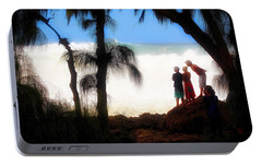 Portable Battery Charger featuring the photograph North Shore Wave Spotting by Jim Albritton