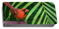 Portable Battery Charger featuring the digital art Northern Cardinal by Christina Lihani