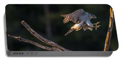 Northern Goshawk's Landing Portable Battery Charger by Torbjorn Swenelius