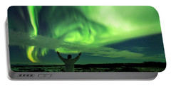 Portable Battery Charger featuring the photograph Northern Light In Western Iceland by Dubi Roman