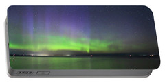 Northern Light With Perseid Meteor Portable Battery Charger by Charline Xia