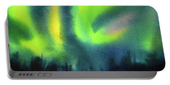 Portable Battery Charger featuring the painting Northern Lights 3 by Kathy Braud