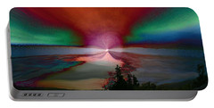 Northern Lights Portable Battery Charger by Linda Sannuti