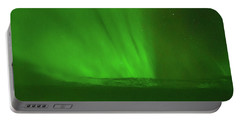 Northern Lights Over The North Atlantic Portable Battery Charger by Allan Levin
