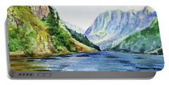 Northern Mountain Lake Watercolor Portable Battery Charger