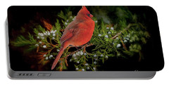 Northern Scarlet Cardinal On White Berries Portable Battery Charger