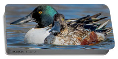 Northern Shoveler Pair Close-up Portable Battery Charger