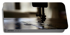 Portable Battery Charger featuring the photograph Nostalgia ..sewing Machine Silhouette by Lynn England
