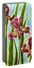 Portable Battery Charger featuring the painting Nostalgic Irises by Monique Faella